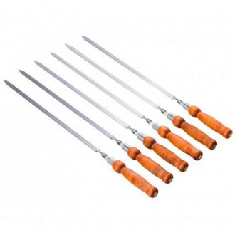 6 шампуров с деревянной ручкой